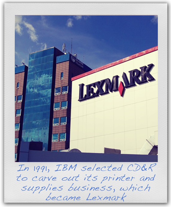 Photo of Lexmark building. Captioned: In 1991, IBM selected CD&R to carve out its printer and supplies business, which became Lexmark
