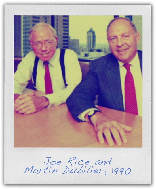 Photo of Joe Rice and Martin Dubilier. Captioned: Joe Rice and Martin Dubilier, 1990