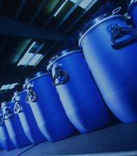 A row of blue barrels