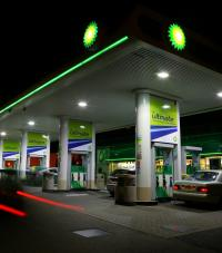 A BP gas station at night